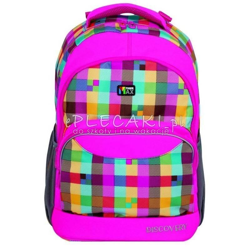 1ea08898e6f28 Plecak w kratkę różowy TIGER MAX DISCOVERY - Neonowy różowy przód