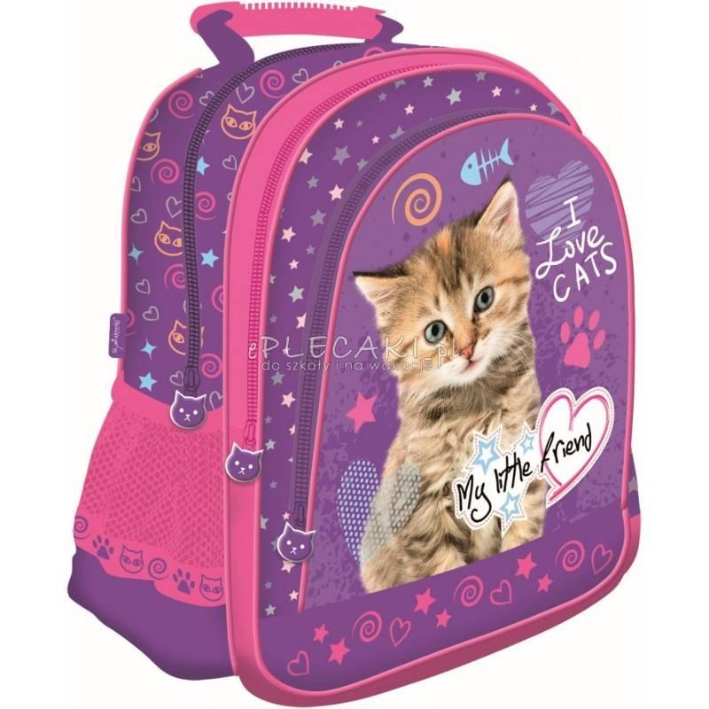 63aee59df860c Plecak z kotem: fioletowy i różowy do 1 klasy dla dzieci MY LITTLE FRIEND