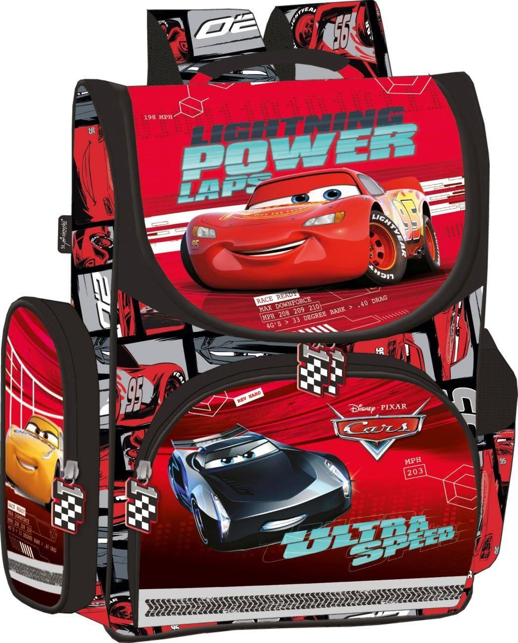 4ba2910d365c6 Czerwony tornister Cars z Zygzakiem szkolny do 1 klasy dla chłopca
