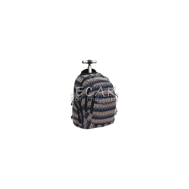 Plecak na kółkach we wzory azteckie granatowo-łososiowy dla dziewczyny Street, walizka z szekami dla studentki