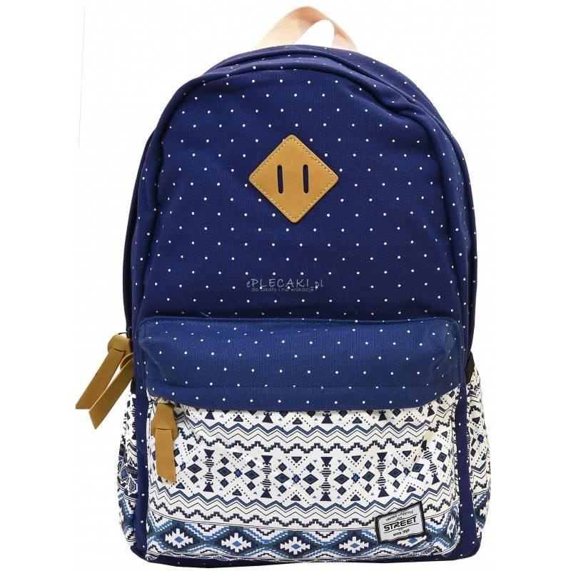 0fee35ef76fa0 Plecak miejski w motywy azteckie niebieski beżowy dla dziewczyny STREET  DOTS BLUE - plecak boho,