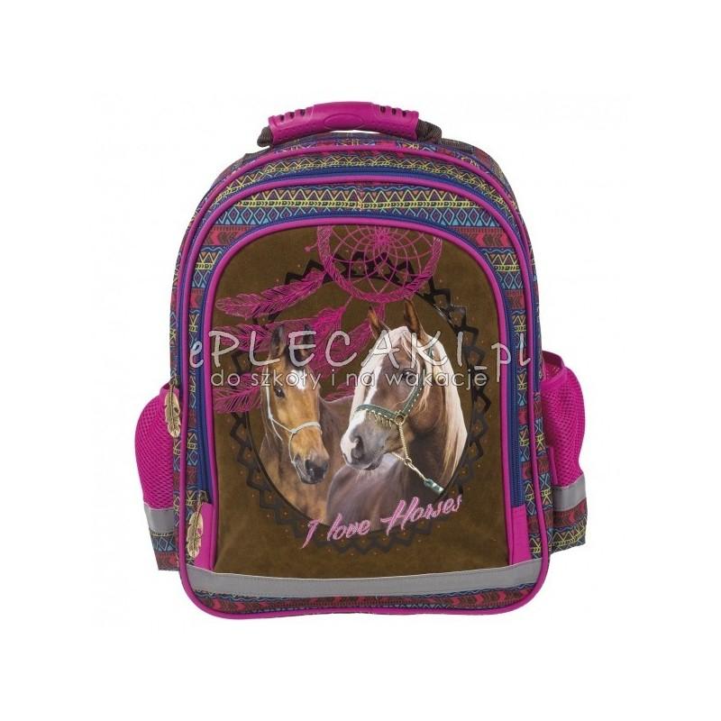 eb228d43fd1a0 ... Brązowy plecak z koniem do szkoły - 2 komory I Love Horses łapacz snów  dla dziewczynki