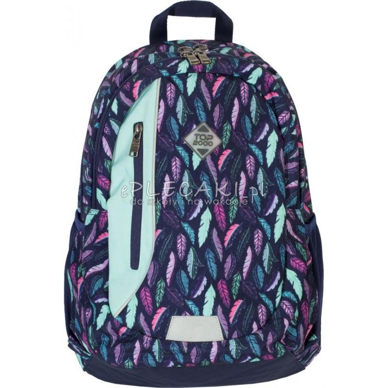 22fda57f7315f Plecak w pióra granatowy z miętowymi piórami i dodatkami dla dziewczyny Top-2000  plecak w