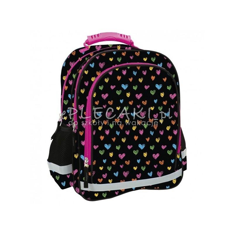 dc4d622b796d3 Czarny plecak w serduszka dla pierwszoklasistki 2 komory Future by ...