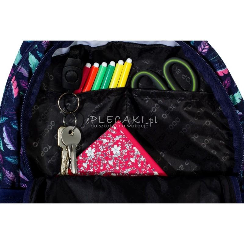 d698f76c9678e ... Plecak miejski z piórami niebieski w miętowe piórka dla dziewczyny top- 2000 organizer