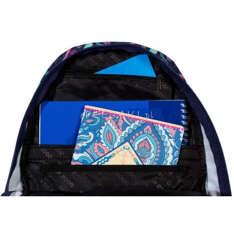 2b1280d13c02e ... Plecak miejski z piórami niebieski w miętowe piórka dla dziewczyny top- 2000 wnętrze ...