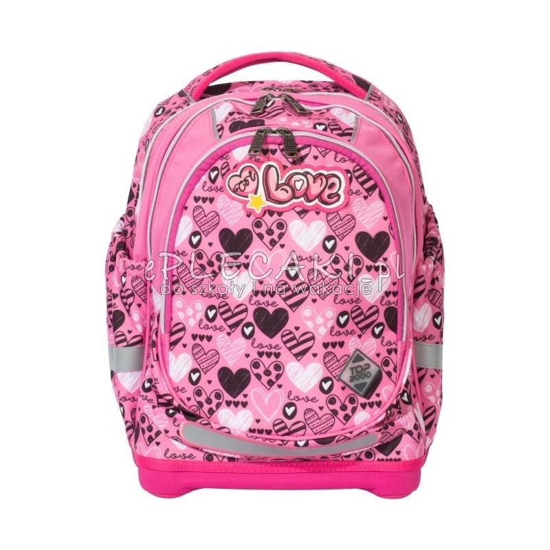 e697861252543 Plecak w serduszka różowy dla dziewczyny top-2000, plecak jak tornister,  plecak love