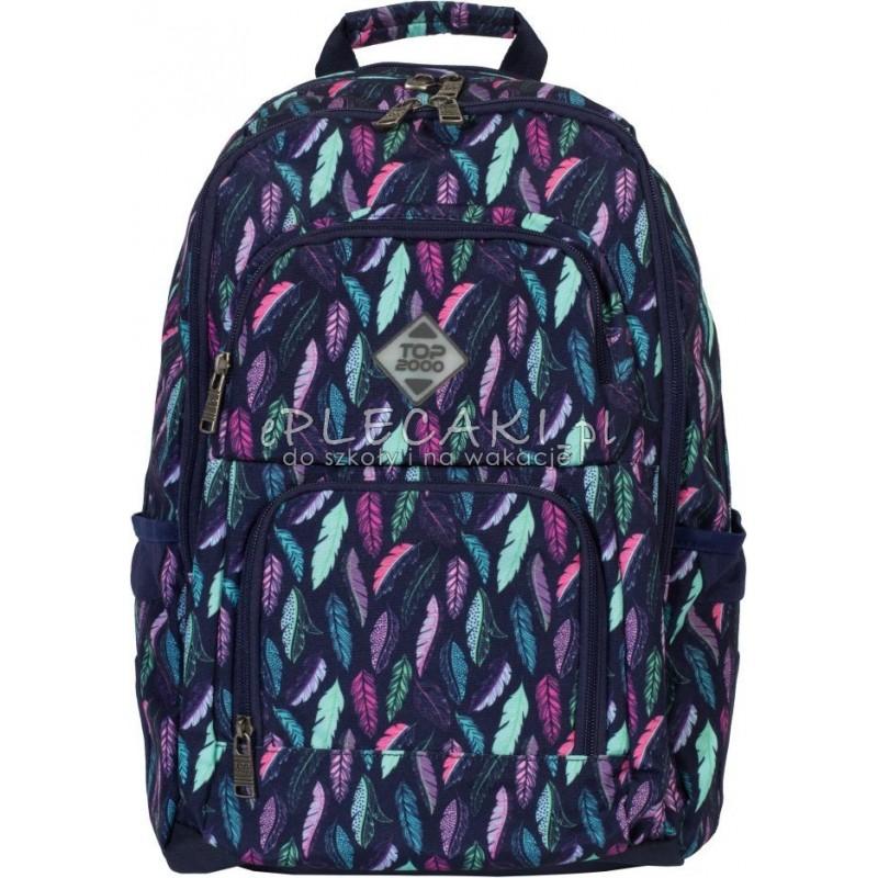 e42a0f48cc84d Plecak w pióra granatowy, dla dziewczyny top 2000, miętowe pióra, różowe  pióra