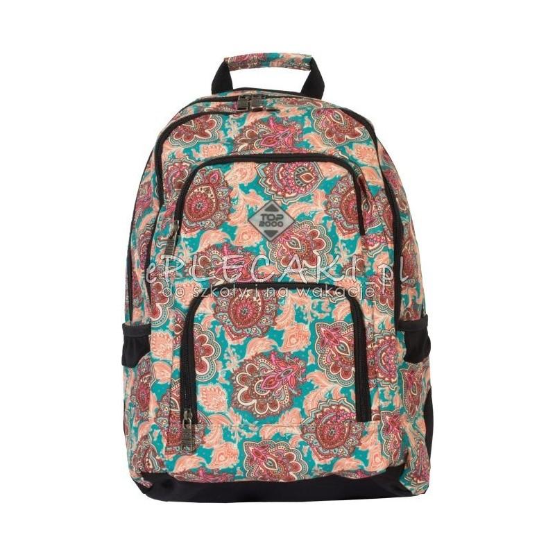 88d2c77c0ccea Plecak w kwiaty hippie, boho dla dziewczyny top2000, brunatne kwiaty,  seledynowe kwiaty
