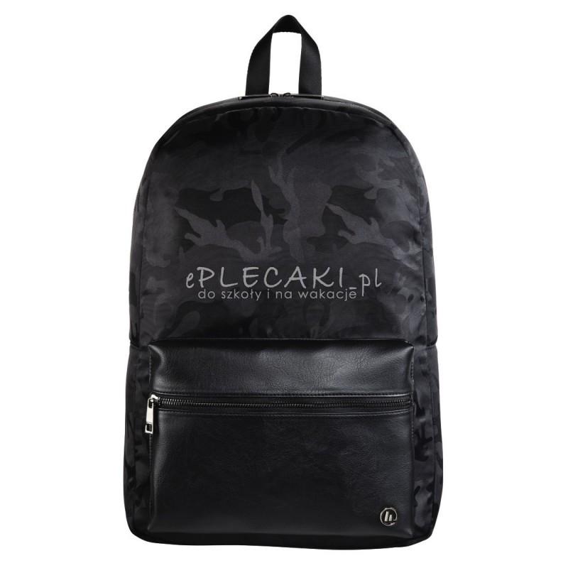 b59a43b2ef92b Czarny plecak elegancki moro na laptopa dla młodzieży