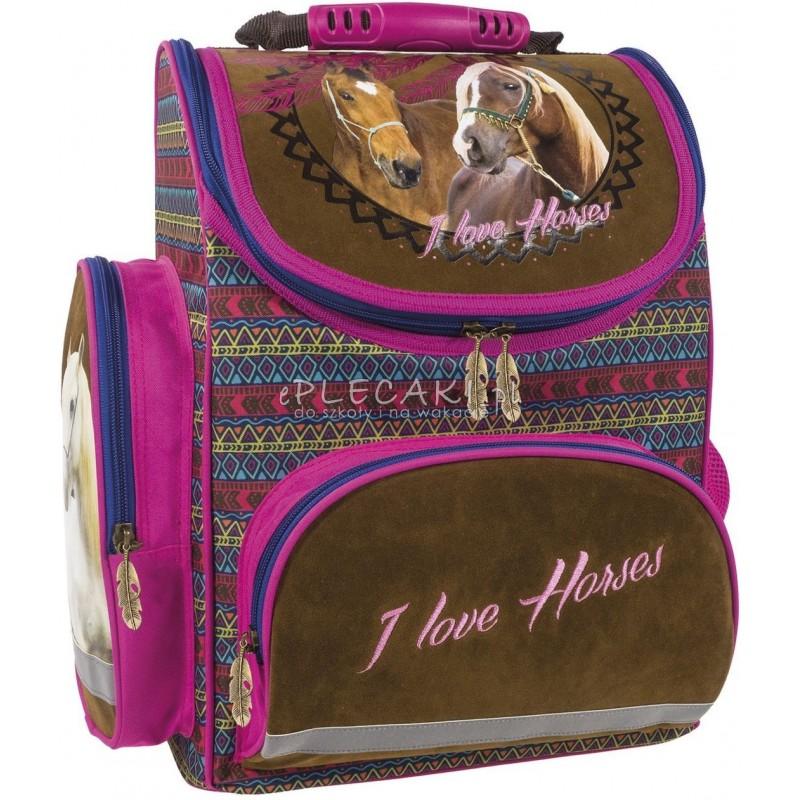 Brązowy tornister z koniem do 1 klasy I Love Horses łapacz snów