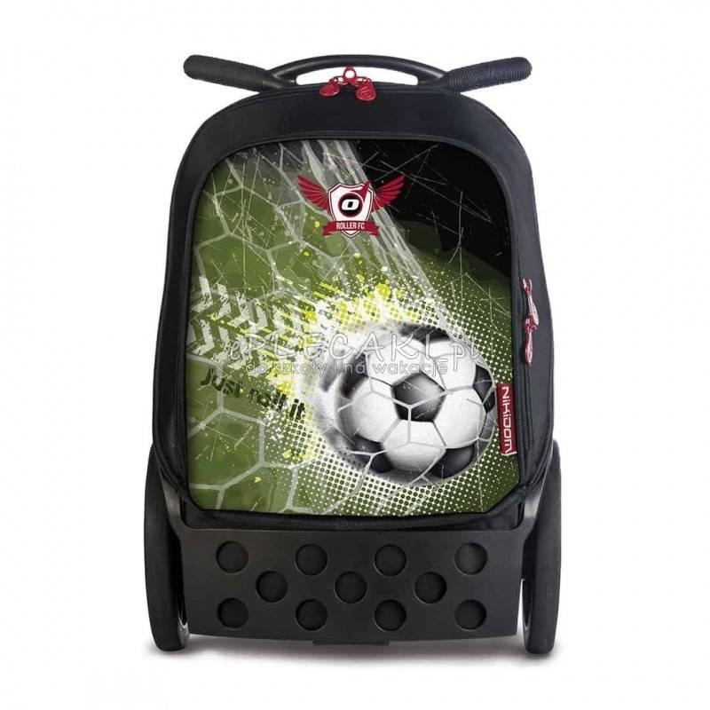 005d7542a5615 Plecak na kółkach Roller czarny z piłką nożną dla chłopaka, walizka szkolna  roller