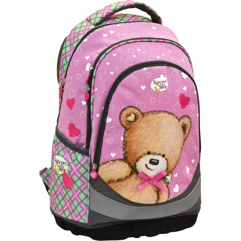 280c3529903e5 Plecak różowy z misiem dla dziewczynki do pierwszej klasy