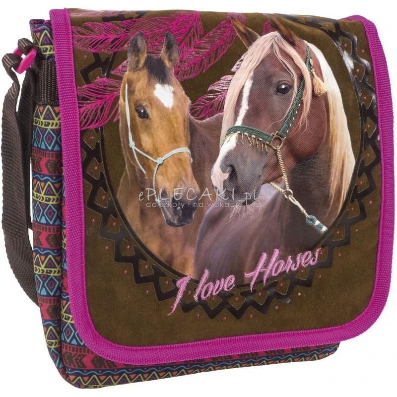 f551c1c141239 Brązowa torebka z klapką z koniem I Love Horses boho z łapaczem snów  etniczna dla dziewczynki