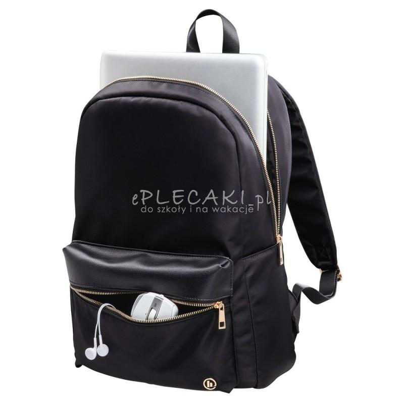 0c5cd259855df plecak na laptop czarny z różowo-złotymi suwakami dla kobiet i mężczyzn