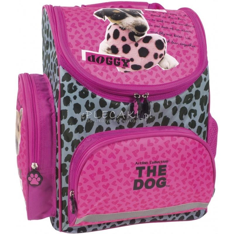18fc62f165c0b Różowy tornister z pieskiem do szkoły do 1 klasy The Dog w łatki z  serduszkiem