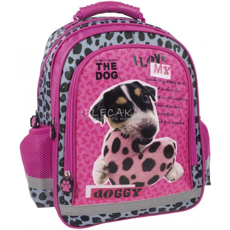 6807458f500fd Fioletowy plecak z pieskiem do 1 klasy The Dog w łatki