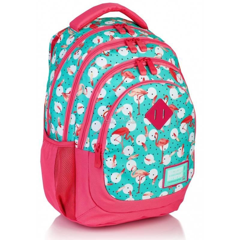2c9712868e093 Miętowy plecak z flamingami do 1 klasy 4 przegrody Head HD-198
