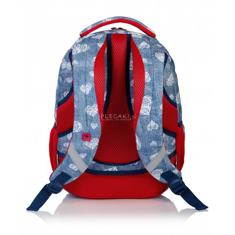 453581855399f ... Jeansowy plecak w serca do 1 klasy 4 przegrody Head HD-196  wyprofilowane plecy ...