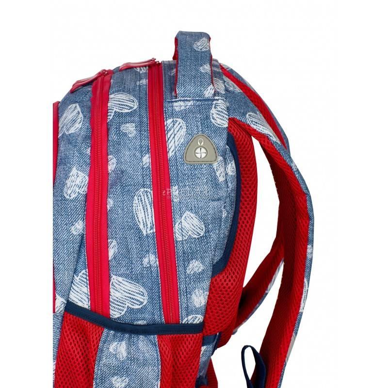 0627cc8c371e6 ... Jeansowy plecak w serca do 1 klasy 4 przegrody Head HD-196 wyjście do  słuchawek