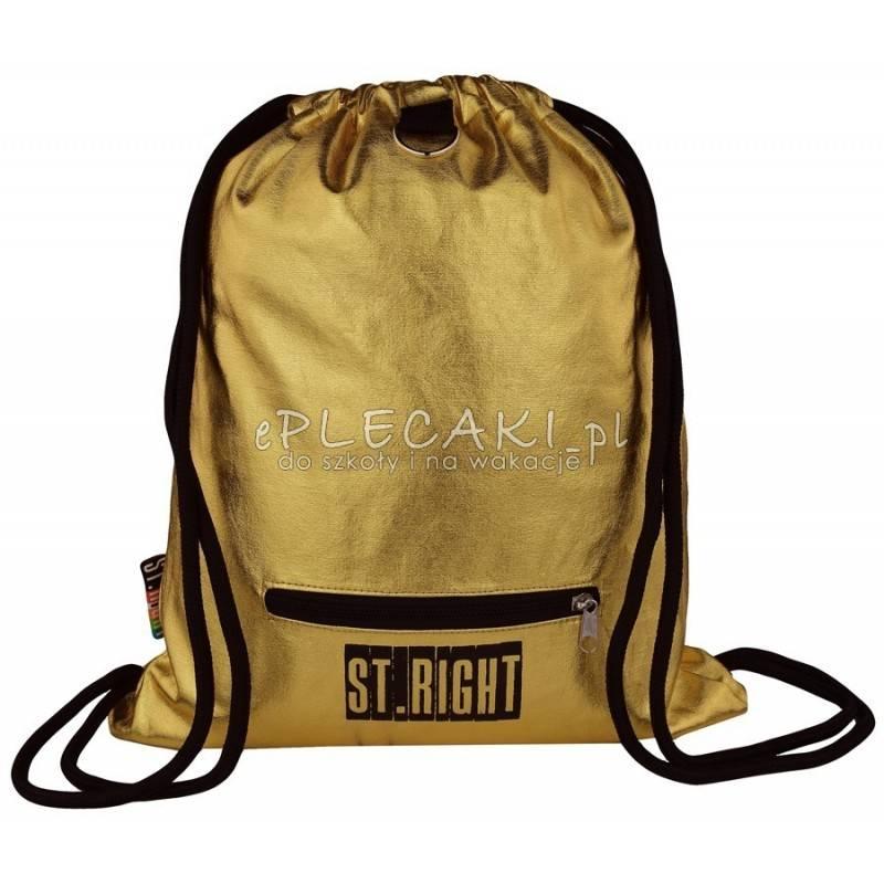 31714f0c465b5 ZŁOTY Worek fullprint   plecak na sznurkach ST.RIGHT Gold złoty