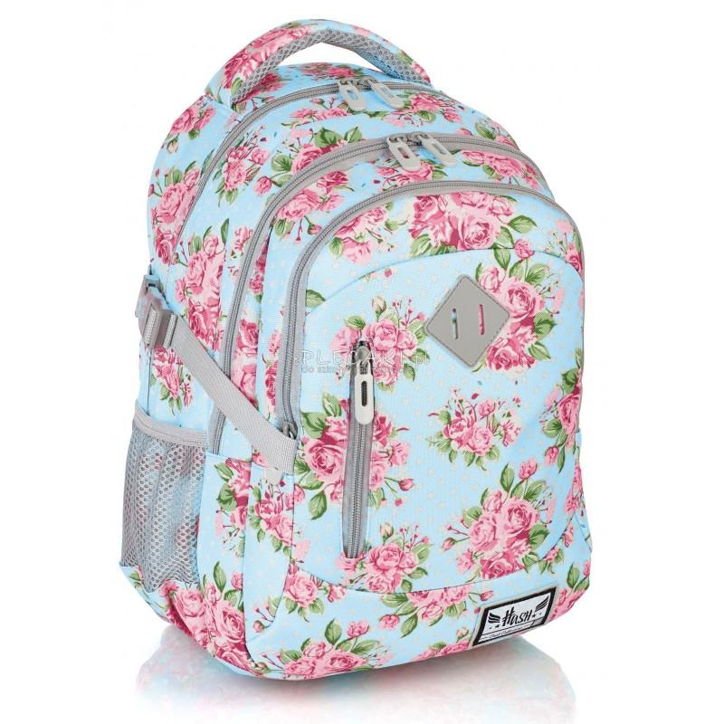 f24843ba9ffdd Błękitny plecak w róże do 1 klasy 3 przegrody Hash HS-19