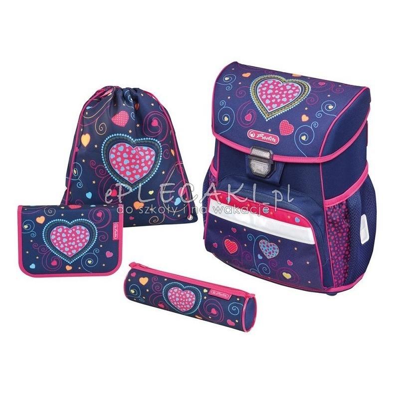 0bf7a5000c1c2 Tornister i akcesoria szkolne granatowe z różowymi elementami oraz  serduszkami dla dziewczynki herlitz - zestaw herlitz