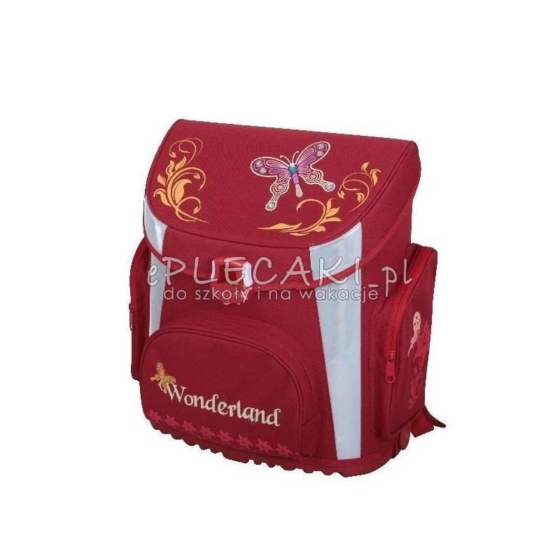 c2901a426c7fc Czerwony tornister z motylem do pierwszej klasy dla dziewczyny