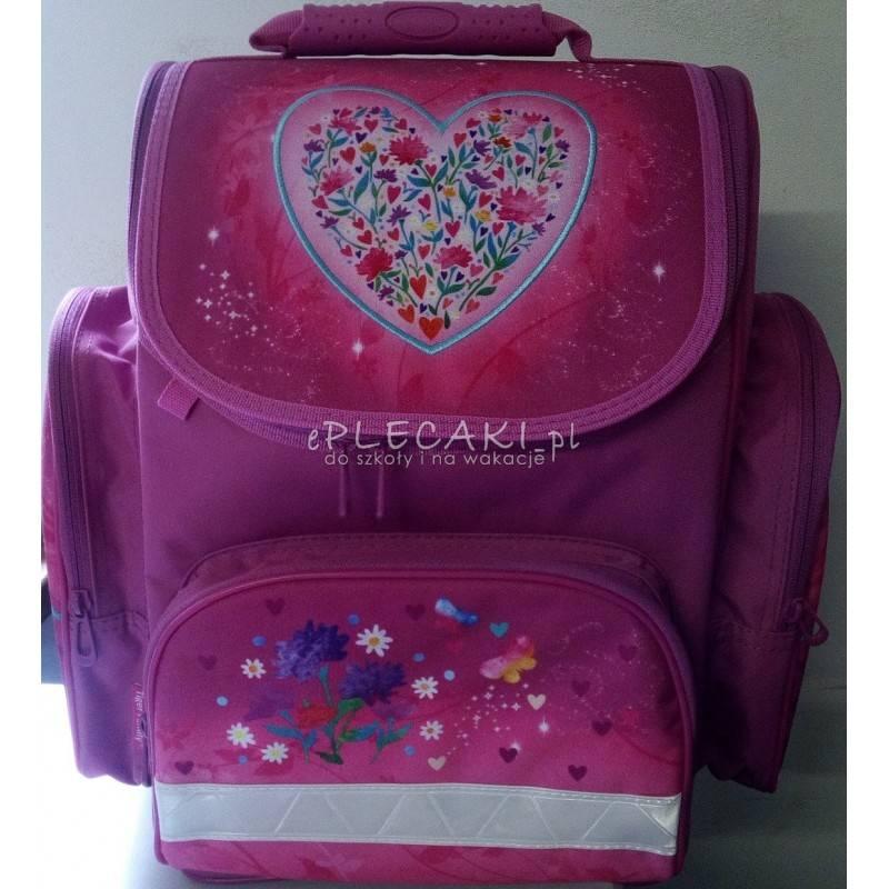 25f6b57c1d1ec Tornister z haftowanym sercem różowy dla dziewczyny