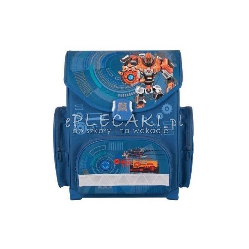 e6d7938336c41 Niebieski tornister z robotami do pierwszej klasy dla chłopaka