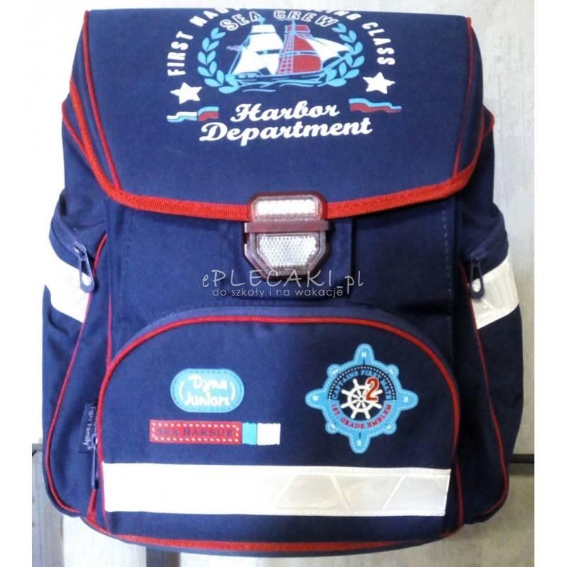 311d1561e5c4d Tornister jak plecak niebieski z marynarskim wzorem dla dziewczyn i  chłopaków