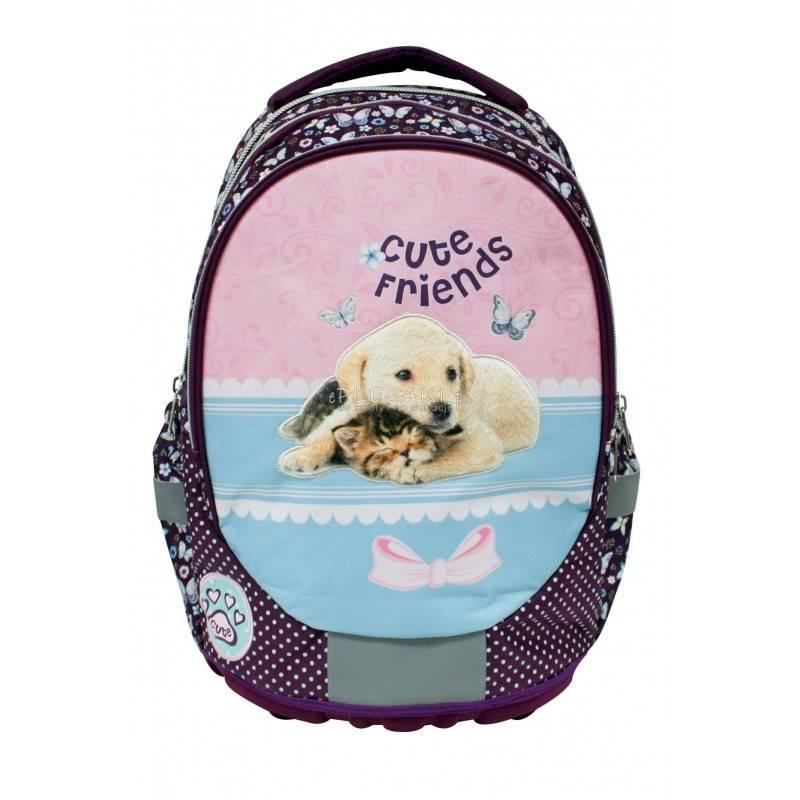 9669d562cb3eb Fioletowy plecak z pieskiem i kotem dla dziewczynki