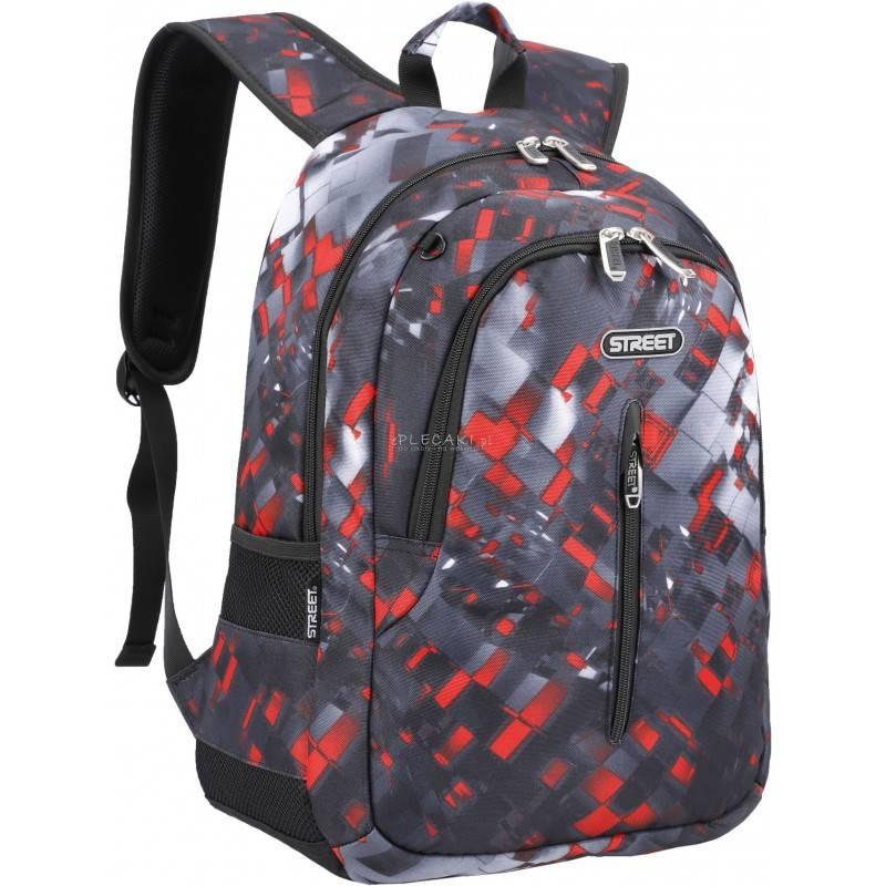 a1b678f1d7337 Plecak w kostkę czarny z czerwonym dla chłopaka Street, plecak szkolny dla  chłopaka