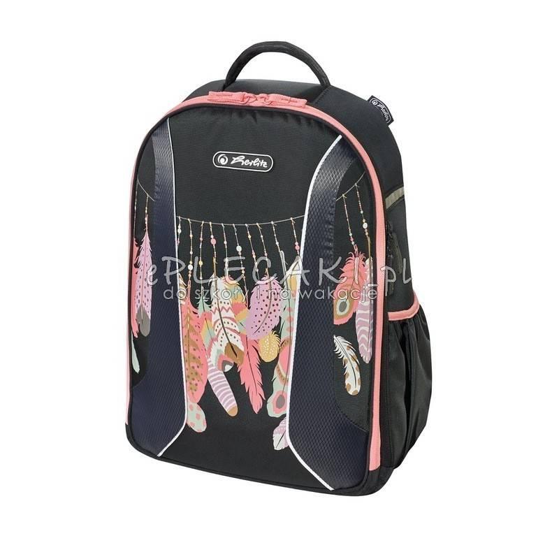 ea1b7912e107a Czarny plecak w piórka 2 przegrody be.bag airgo herlitz dla dziewczyn