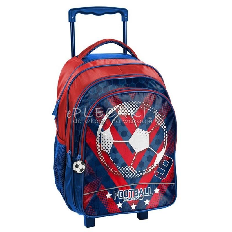 Czerwono-niebieski plecak na kółkach z piłką Paso Football