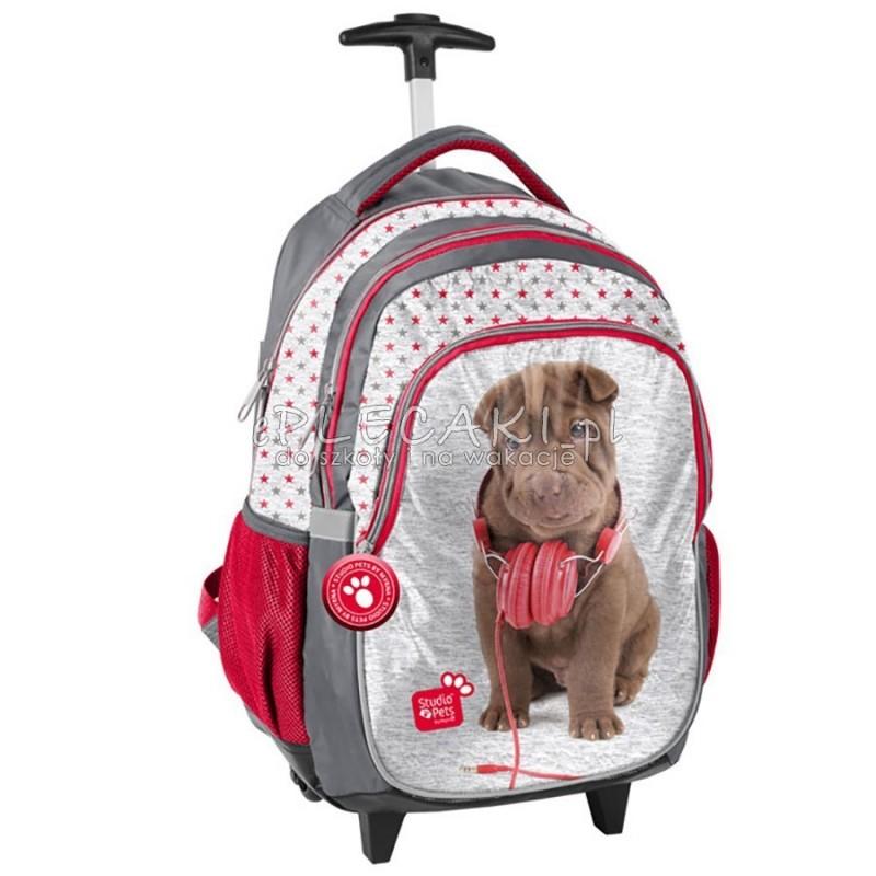 Plecak na kółkach z psem dla dziewczynki - shar pei