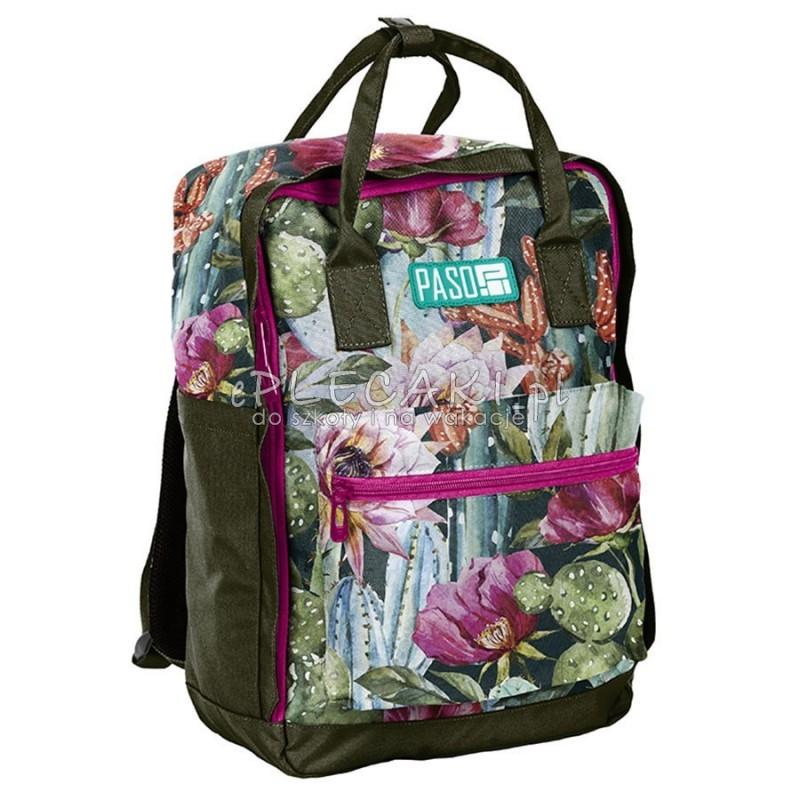 2739436a54510 Plecak miejski Paso zielony w pastelowe kwiaty - ePlecaki do szkoły ...