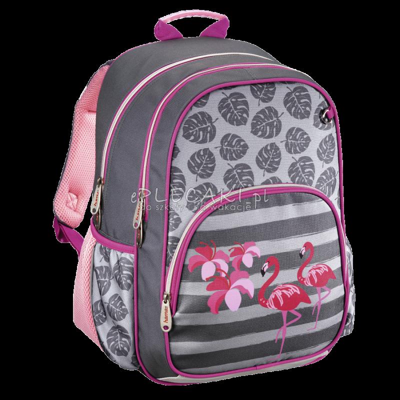 c6aca4e61f707 Różowy plecak do 1 klasy dla dziewczynki we flamingi, plecak flamingi