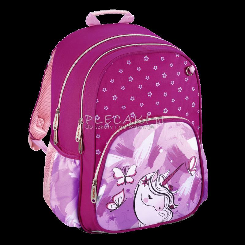 a954b188e9de4 Różowy plecak do 1 klasy dla dziewczynki z jednorożcem