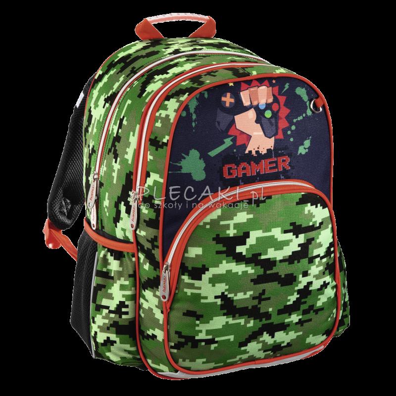 271fcd598da1b Zielony plecak z grą komputerową dla chłopca do szkoły Hama