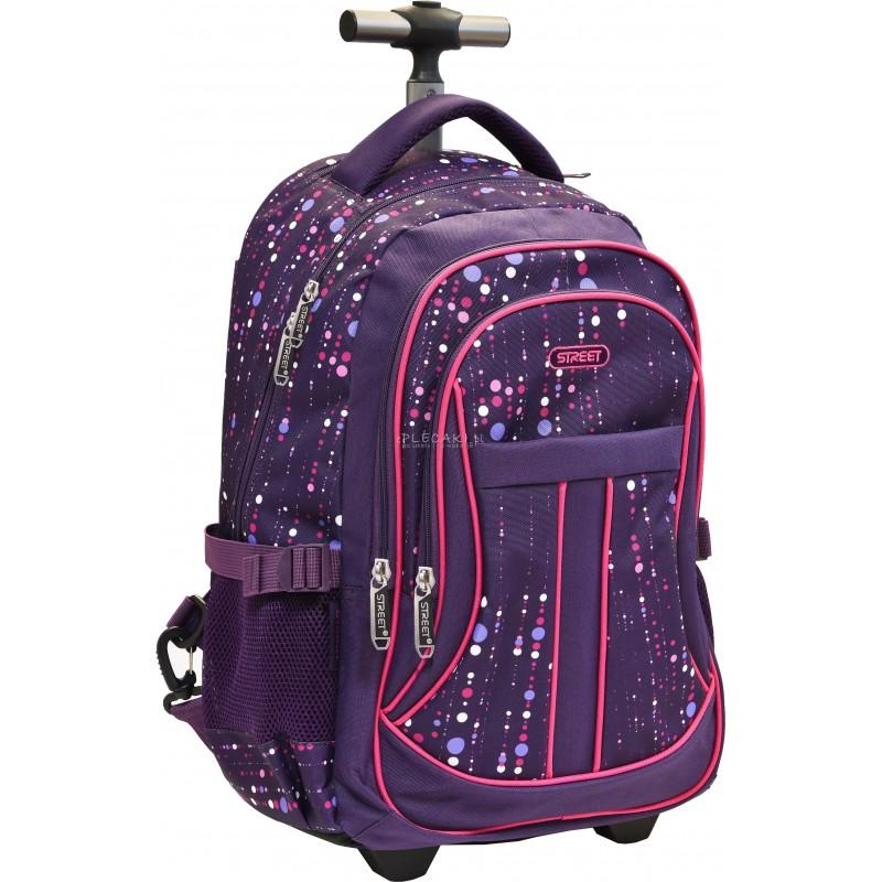 Fioletowy plecak na kółkach w kropki dla dziewczyny Street, fioletowa walizka na kółkach