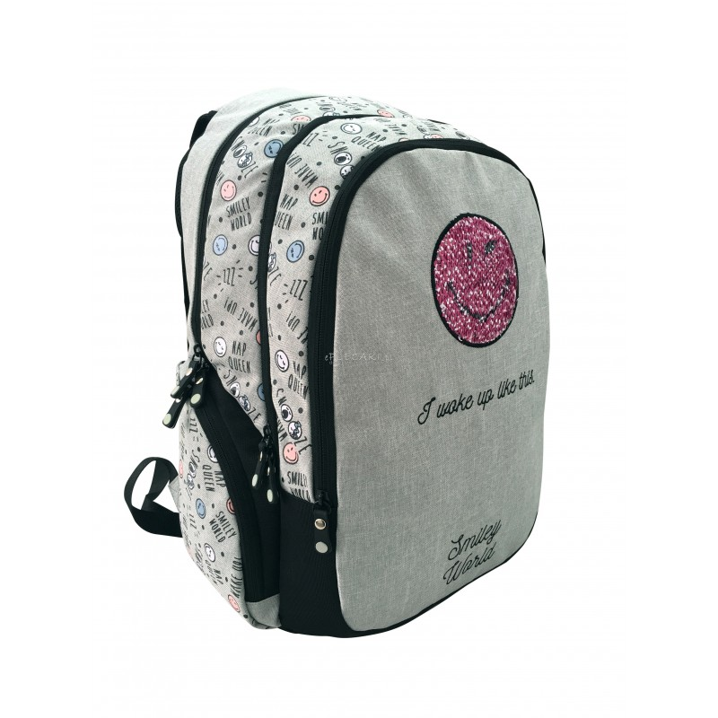 ebdc6a03b29fc Szkolny plecak z cekinami i emotką dla młodzieży