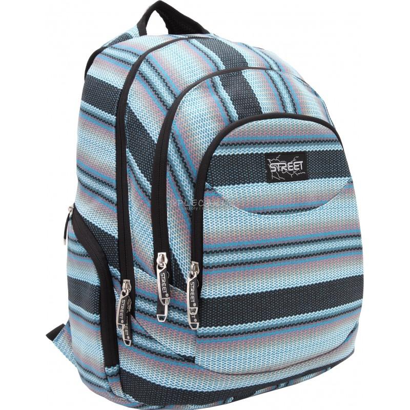 Plecak młodzieżowy błękitne paski STREET CANVAS PEARL