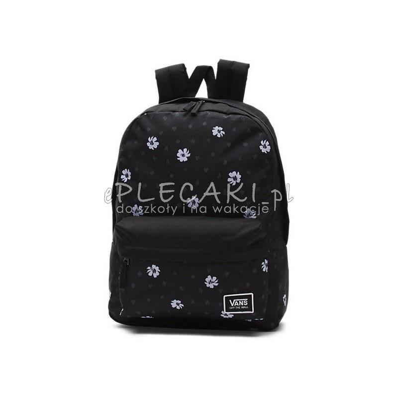cb8f69d5f9b Czarny plecak Vans w kwiaty dla dziewczyny, plecak miejski Vans czarny