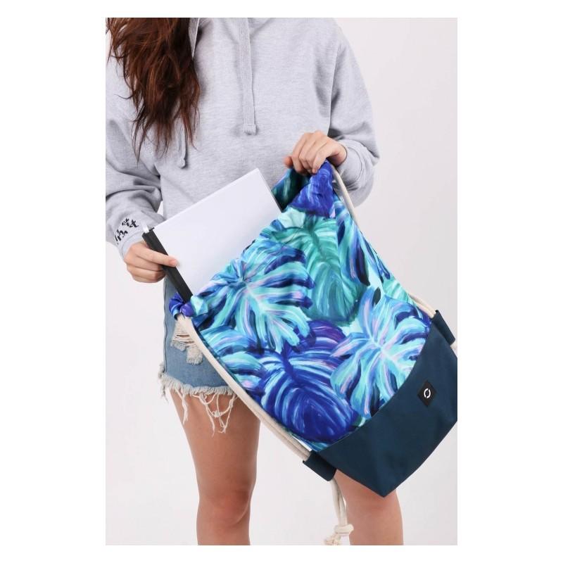 e02845113f6c5 Seledynowy plecak na sznurkach, worek liście tropikalne dla dziewczyn