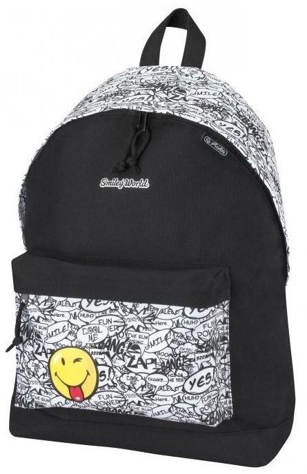 Czarno biały plecak z emotikonem dla młodzieży Herlitz