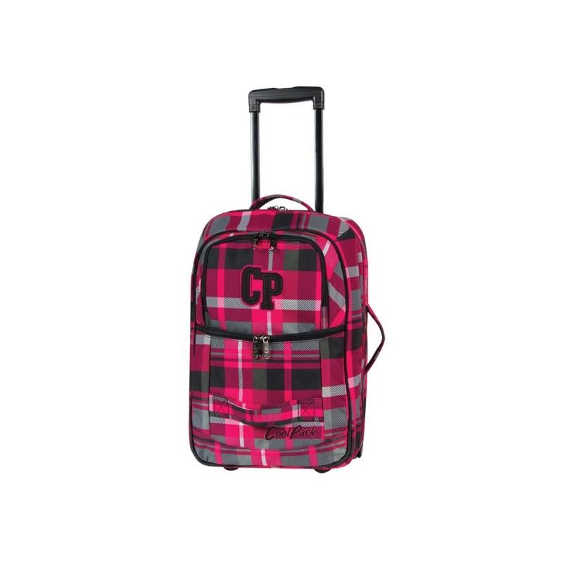 c05b1d1dc7d7b Mała walizka podróżna Coolpack Escape 105 różowa w kratkę damska