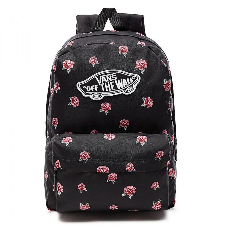 c867a13333e Czarny plecak w różyczki miejski Vans dla dziewczyny - vans w róże