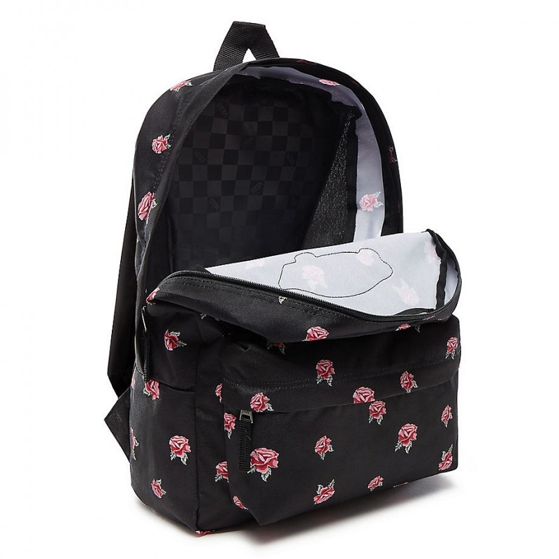 Czarny plecak w różyczki miejski Vans dla dziewczyny