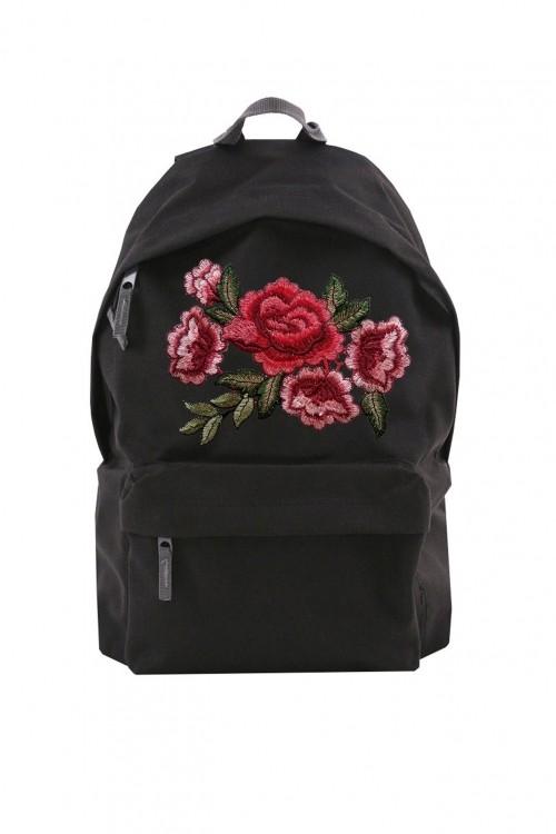 Czarny plecak na laptop z różą naszywaną dla dziewczyn